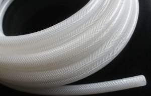 China High Purity Fiber Braided Silicone Tubing No Smell Translucent Natural Color on sale