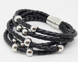 China Black PU leather wrap braided bracelets with magnetic clasp (leather bracelet wholesale) on sale