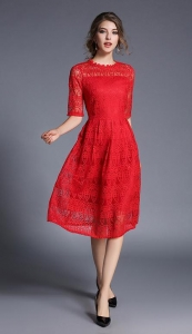 China Winter new slim slim lace long sleeve seven red dress female on sale