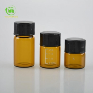 China amber dram vial with black lid on sale