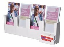 China Four Pocket White Acrylic Wall-Mount Brochure Holder on sale