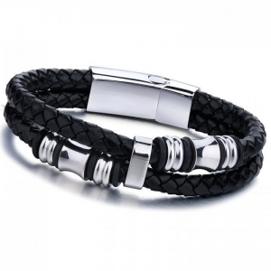 China Jstyle Stainless Steel Mens Braided Leather Bracelet Bangle Rope Magnetic-Clasp on sale
