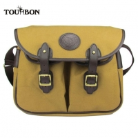 China Tourbon Fly Fishing Tackle Case Crossbody Carryall Game Fishing Bag Canvas and Leather on sale