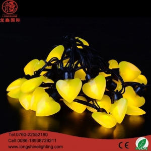 China Neon Sign Light Yellow heart 6m 40 bulb LED string light on sale