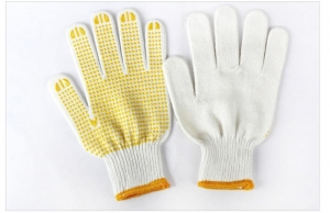 China pvc dotted cotton yarn hand gloves on sale