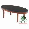 China Coffee Table Long Oval Shape with Mahogany Frame and Black Marble Top for sale