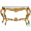 China Console Table in Antique Gold Finishing with Narrow Marble Top for sale