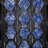 Polished Blue Semi Precious Stone Sodalite Blue Jasper Marble Floor And Wall Tile
