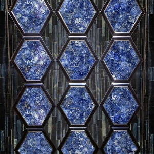 China Polished Blue Semi Precious Stone Sodalite Blue Jasper Marble Floor And Wall Tile on sale