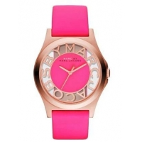 NEW-MARC JACOBS HENRY PINK LEATHER BAND+ROSE GOLD SKELETON DIAL WATCH MBM1243