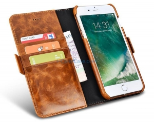 China iCarer iPhone 7 Oil Wax Wallet Leather Detachable 2 in 1 Folio Case on sale