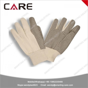 China PVC knitted cotton dotted gloves on sale