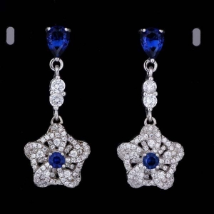 China Gemstone Jewelry AAA Cubic Zirconia Single Stone Earrings Designs on sale