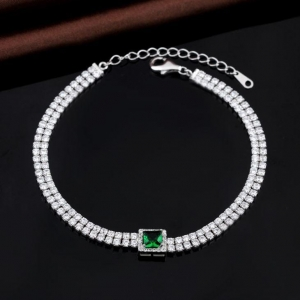 China Popular White Gold Simple Diamond Chain Bracelet For Women on sale