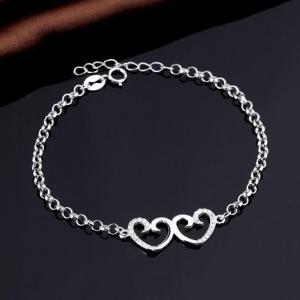 China Fashion Cubic Zirconia Double Heart Italian Sterling Silver Rolo Chain Bracelet on sale