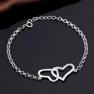China Ladies Linked Cubic Zirconia Double Heart Sterling Silver Bracelets on sale