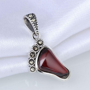 China Sterling Silver Oxidized Red Agate And Marcasite Baby Footprint Charm Pendant on sale