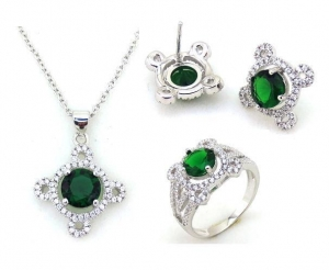 China Fashion China Wholesale 925 Silver Bridal Jewelry Set on sale