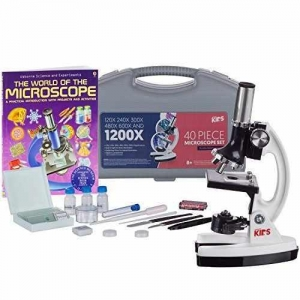 China AMSCOPE-KIDS 120X-1200X 48pc Metal Arm Educational Starter Biological Microscope Kit + Book on sale