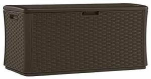 China Suncast BMDB134004 Wicker Resin Deck Box, 134 gallon on sale