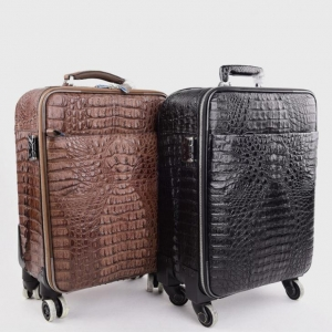 China Handmade Crocodile Skin Luggage Trolly Case on sale