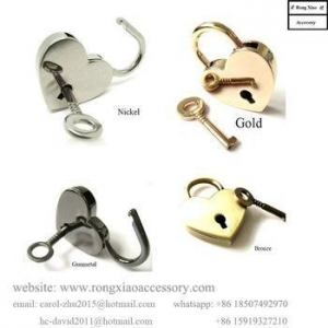 China 40 x 30 mm Heart Shaped Metal Lock Antique Brass lock and key Metal Lock for Bag on sale