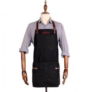 China Hand Crafted Bib Waxed Canvas Mens Work Aprons with Pockets on sale
