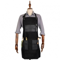 High Quality Cool Long Black Leather Tool Apron with Pockets