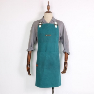 China Blue Waxed Canvas Aprons on sale