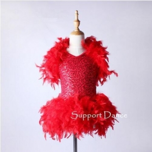 China Costume Collection Product name:V-Neck Feather Latin Dress Kids Modern Dance Costume DB185 on sale