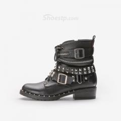 China Women's Punk British Style Chic Shoes Buckle Rivet Lace up Side Zipper Black Flannelette Ankle Boots on sale