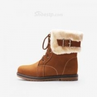 China Women's New Chic Buckle Riding Boots Lace-up Vintage Causual Ankle Boots for Autumn and Winter on sale