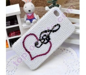 China rhinestone musical note heart pearl iphone protective cover GIFTS on sale