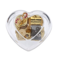 YouTang(TM) Heart-shape Creative Transparent Acrylic 18-note Wind-up Musical Box,Musical Toys