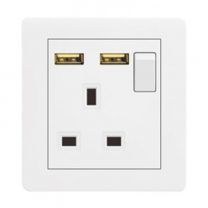 China M2 Series 1 gang switch and 13A square pin socket with two USB on sale