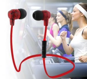 China New wireless subwoofer crack pattern sports Bluetooth V4.1 headset with flat cable on sale