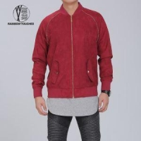 Red Slim Fit Eco-friendly Suede Jacket for Men