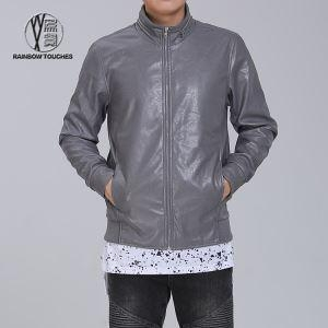 China High Neck Leather Zipper Grey Jacket for Men on sale