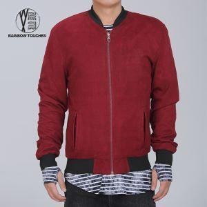China Red Zip Up Leather Baseball Jacket for Men on sale