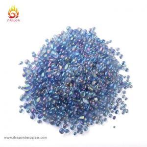 China 2-4mm Light Blue Swimming Pool Irregular Iridescent Glass Beads on sale