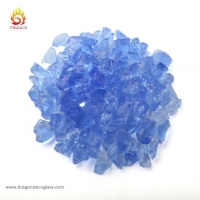China Light Blue Landscape Glass Mulch and Colored Glass Chips for Home Decorative on sale