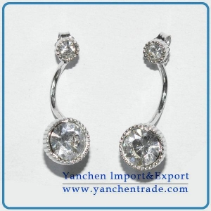 China Beautiful design earrings jewelry white gold plated with CZ on sale