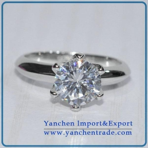 China white gold plating round cubric zircon sterling silver engagement ring on sale