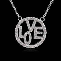 China LOVE 925 Silver Necklace Rhodium Plating with AAA CZ Stones on sale