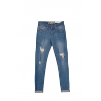 High Rise Slim Leg Demin Skinny Jeans In Mid Wash With Broken-hole Around Knee