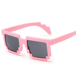 China Sunglasses Vintage Matte Black Frame Blue Mirror Lens Pixel Fashion Pc Sunglasses on sale
