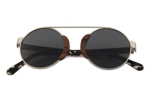 China Women Sunglasses Wood round copper Cute Retro With Polarized Lens on sale