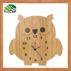 China Cartoon Bamboo Wall Clock Owl Pig Bear Reindeer on sale