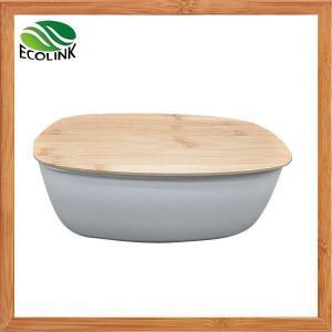 China Bamboo Fiber Bread Bin With Bamboo Board Lid on sale