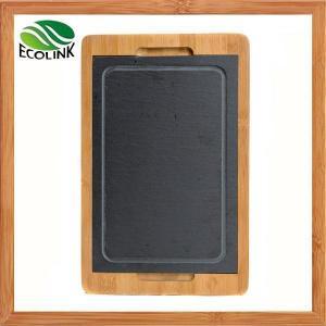 China Slate And Bamboo Cheese Board, Slate Food Tray on sale